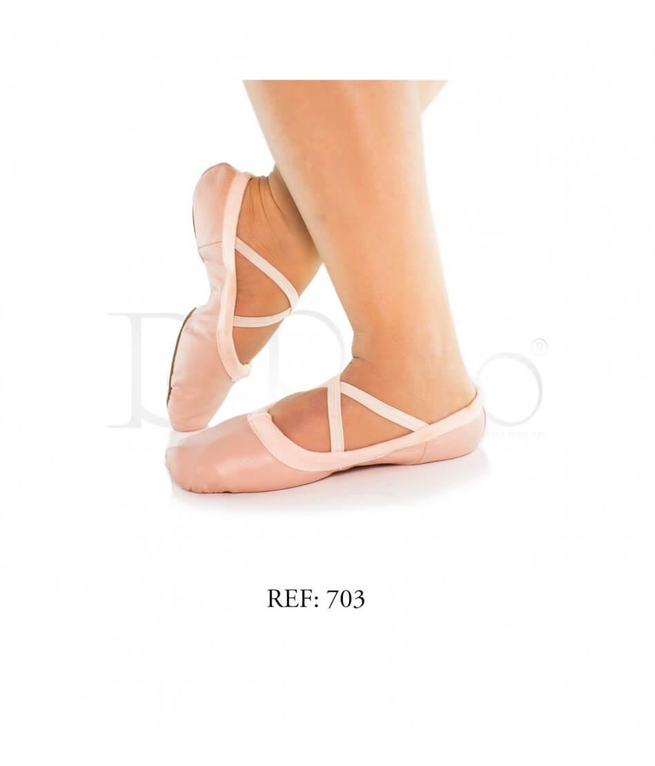 Zapatilla Media punta cuero palo de rosa Ref-Ballet C-palo de rosa