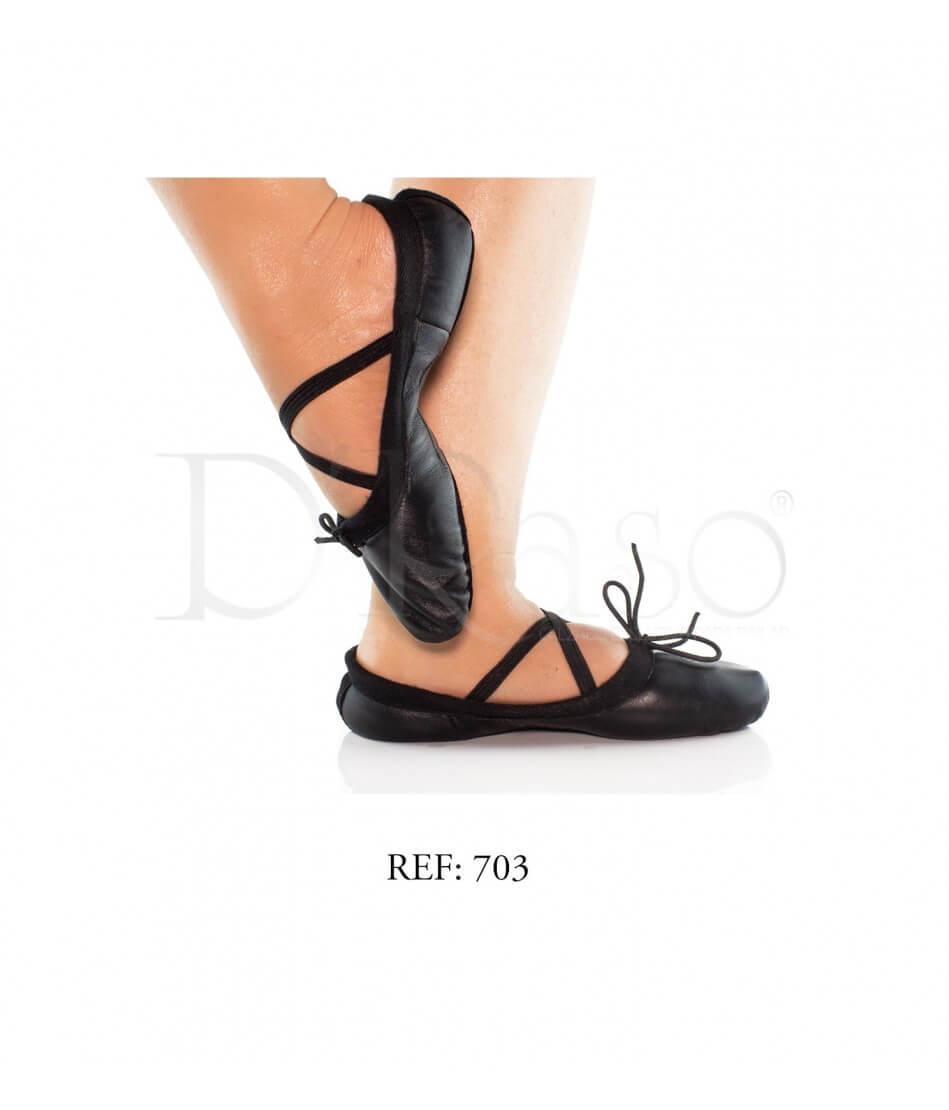 Zapatilla Media punta cuero Negro Ref-Ballet C-negra