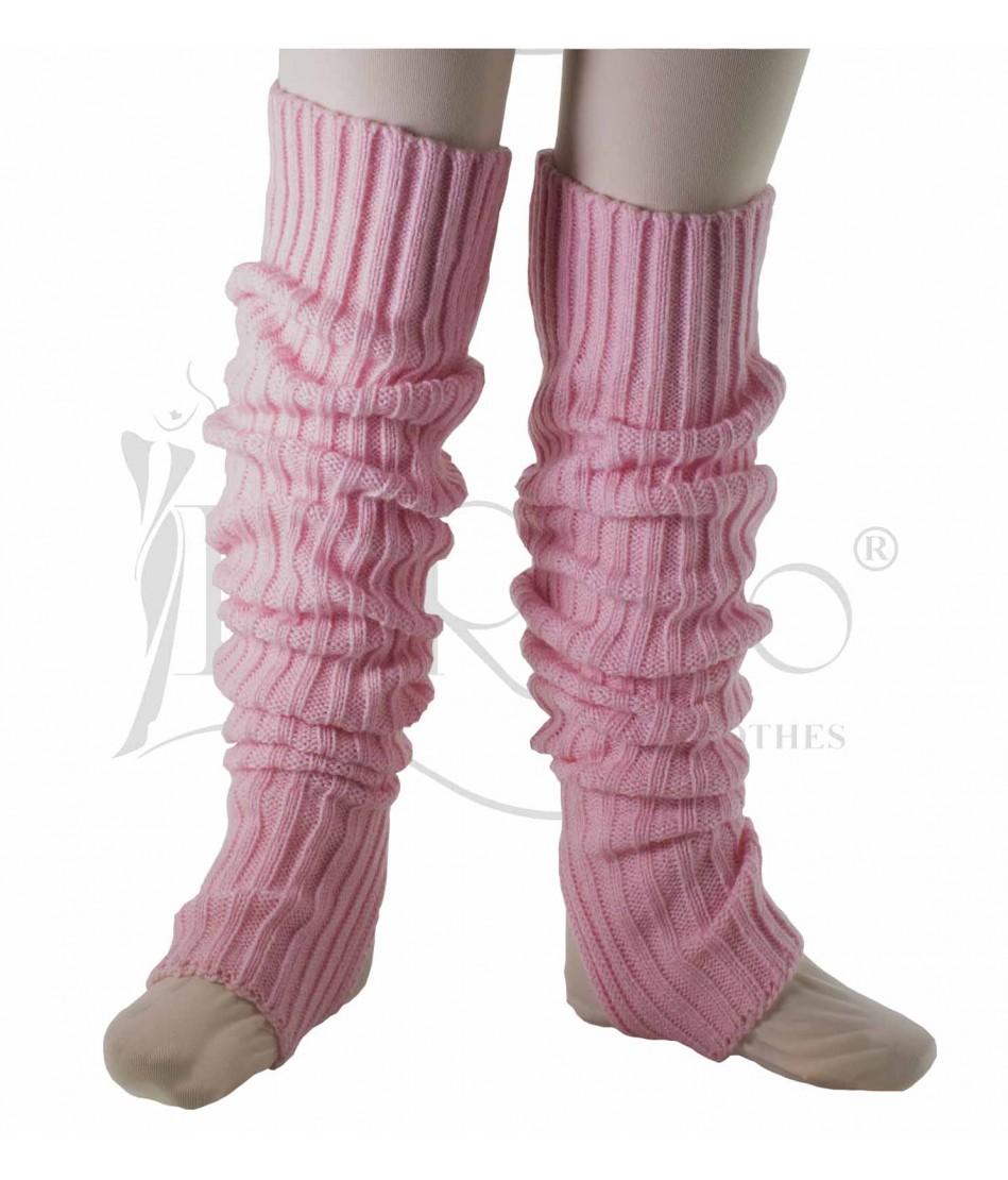 Calentadora tejida rosa claro