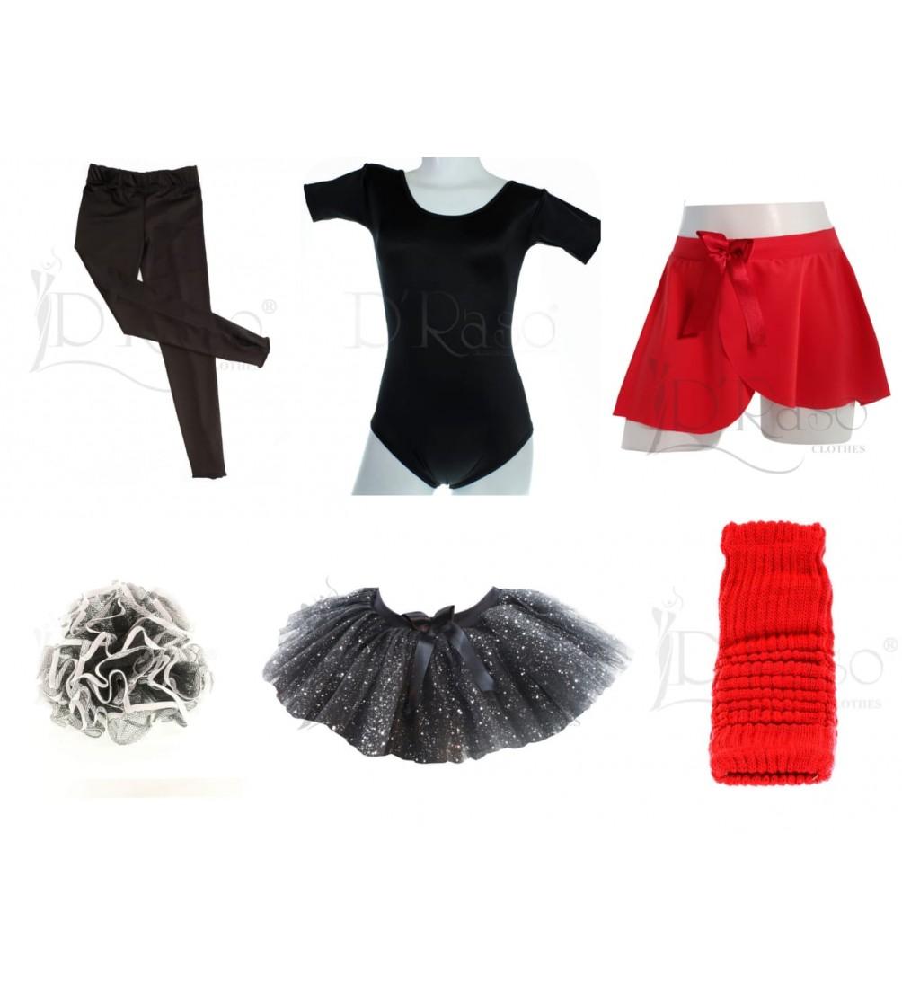 Kit ballet  negro - rojo